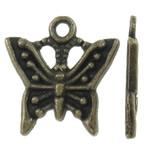 Zinc Alloy Animal Pendants, Butterfly, antique bronze color plated, nickel, lead & cadmium free, 16x17x1.50mm, Hole:Approx 2mm, Approx 1110PCs/KG, Sold By KG