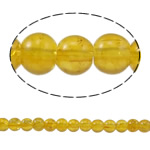 Crackle Glass Beads, Round, yellow, 4mm, Hole:Approx 1mm, Length:Approx 31.4 Inch, 10Strands/Bag, Sold By Bag