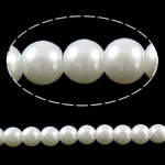 Fashion Glass Beads, Round, solid color, white, 8mm, Hole:Approx 1mm, Length:Approx 32 Inch, 10Strands/Bag, Sold By Bag