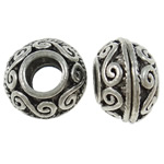 Zinc Alloy European Beads, Rondelle, antique silver color plated, without troll, nickel, lead & cadmium free, 8x12mm, Hole:Approx 5mm, 100PCs/Bag, Sold by Bag