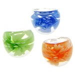 Lampwork Finger Ring, with inner flower, mixed colors, 29x24x7.50mm, 50PCs/Bag, Sold by Bag