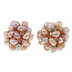 Koraliki z hodowlanych pereł w kształcie piłki, Perła naturalna słodkowodna, Kwiat, Naturalne, fioletowy, 15mm, sprzedane przez PC