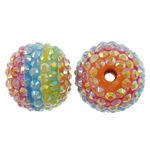 Resin Rhinestone Beads, Drum, colorful plated, multi-colored, 20x22mm, Hole:Approx 4mm, 100PCs/Bag, Sold by Bag