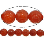 Natural Red Agate Beads, Flower, Carved, 14mm, Hole:Approx 1mm, 28PCs/Strand, Sold per 15 Inch Strand