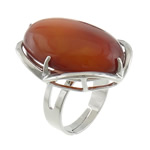 Agate Finger Ring, red agate, with platinum color brass setting, 22x27.80x10.80mm, Size 6.5, 20PCs/Lot, Sold by Lot