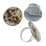 Shell Finger Rings, Flat Round, iron ring base with tiger skin pattern sea shell & zinc alloy, platinum color plated, 31x31x26mm, Size 9, Inner Diameter:Approx 19mm, 50PCs/Box, Sold by Box