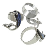 Shell Finger Rings, Dolphin, iron ring base with abalone shell & zinc alloy,  platinum color plated, with rhinestone, 32x25x25mm, Size 9, Inner Diameter:Approx 19mm, 50PCs/Box, Sold by Box