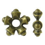 Zinc Alloy Jewelry Spacer, Snowflake, antique bronze color plated, with large hole, nickel, lead & cadmium free, 11x3.5mm, Hole:Approx 3mm, approx 1190PCs/KG, Sold by KG