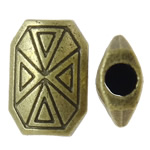 Zinc Alloy Jewelry Beads, Octagon, antique bronze color plated, nickel, lead & cadmium free, 10x15x5mm, Hole:Approx 3mm, approx 430PCs/KG, Sold by KG