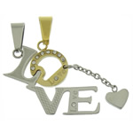 Stainless Steel Couple Pendants, word love, plated, with rhinestone & two tone, 13x38x2.5mm, 13x43x2.5mm, Hole:Approx 9x3mm, 10Pairs/Lot, Sold By Lot