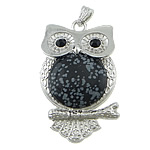 Snowflake Obsidian Pendants, Owl, platinum color brass setting, with rhinestone, 40x63x7mm, Hole:Approx 4x7mm, 10PCs/Lot, Sold by Lot