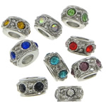 Zinc Alloy European Beads, Drum, platinum color plated, without troll & with rhinestone, mixed colors, nickel, lead & cadmium free, 7x12x12mm, Hole:Approx 5mm, 100PCs/Bag, Sold by Bag