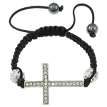 Fashion Shamballa Bracelet, with platinum color plated zinc alloy rhinestone pave connector &amp; beads &amp; wax cord &amp; hematite beads, 26x37x6mm, Length:approx 7.5 Inch, approx 12Strands/Bag, Sold by Bag