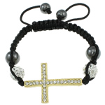 Fashion Shamballa Bracelet, with gold color plated zinc alloy rhinestone clay pave connector &amp; bead &amp; wax cord &amp; hematite beads, 26x37x4mm, Length:approx 7.5 Inch, approx 12Strands/Bag, Sold by Bag