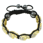 Fashion Shamballa Bracelet, with gold color plated zinc alloy rhinestone pave &amp; hematite beads &amp; wax cord, 10x14.50x7mm, Length:approx 7.5 Inch, approx 12Strands/Bag, Sold by Bag
