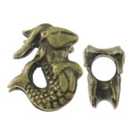 Zinc Alloy European Beads, Fish, antique bronze color plated, without troll, nickel, lead & cadmium free, 13x15x10.50mm, Hole:Approx 5.5mm, approx 100PCs/Bag, Sold by Bag