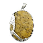 Chrysanthemum Stone Pendants Jewelry, with brass, Flat Oval, platinum color plated, 33x43x10mm, Hole:Approx 4x6mm, 20PCs/Lot, Sold by Lot