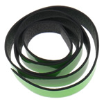 Leather Cord, green, 20x2mm, Length:Approx 20 m, 20Strands/Bag, Sold By Bag