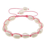 Freshwater Pearl Shamballa Bracelets, cultured freshwater pearl, with nylon cord, 11-13x9x9mm, Length:6-11 Inch, 10Strands/Lot, Sold by Lot