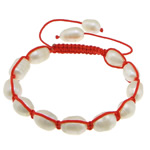 Freshwater Pearl Shamballa Bracelets, cultured freshwater pearl, with nylon cord, 10-13x9x9mm, Length:6-11 Inch, 10Strands/Lot, Sold by Lot