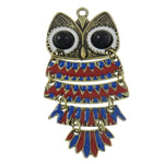 Zinc Alloy Animal Pendants, with Resin, Owl, antique bronze color plated, enamel, nickel, lead & cadmium free, 42x82x6mm, Hole:Approx 3.5mm, Approx 10PCs/Bag, Sold By Bag