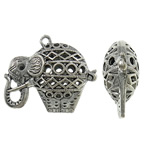 Zinc Alloy Pendant Rhinestone Setting Elephant antique silver color plated hollow lead   cadmium free 41x34.50x14.50mm Hole:Approx 2.5mm