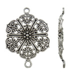 Flower Zinc Alloy Connector, antique silver color plated, 1/1 loop, nickel, lead & cadmium free, 40.50x28.50x3mm, Hole:Approx 2.5mm, Approx 225PCs/KG, Sold By KG