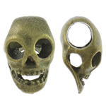 Zinc Alloy European Beads, Skull, antique bronze color plated, without troll, nickel, lead & cadmium free, 9x14.50x7mm, Hole:Approx 4.5mm, approx 900PCs/KG, Sold by KG