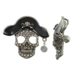 Zinc Alloy Skull Pendants, antique silver color plated, enamel & with rhinestone, lead & cadmium free, 52.50x46.50x11mm, Hole:Approx 5x6.5mm, 10PCs/Bag, Sold By Bag