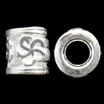 Zinc Alloy European Beads, Tube, silver color plated, without troll, nickel, lead &amp; cadmium free, 9x10mm, Hole:Approx 5.5mm, approx 430PCs/KG, Sold by KG