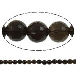 Quartz Jewelry Beads, smoky quartz, Round, faceted, 4mm, Hole:Approx 1.5mm, Length:15.7 Inch, 20Strands/Lot, Sold by Lot
