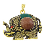 Goldstone Pendants, with zinc alloy, Elephant, gold color plated, enamel & with rhinestone, 46x38x10mm, Hole:Approx 4x7mm, 20PCs/Lot, Sold by Lot