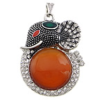 Red Agate Pendants, with zinc alloy, Animal, platinum color plated, enamel & with rhinestone, 38x52x10mm, Hole:Approx 4x7mm, 10PCs/Lot, Sold by Lot