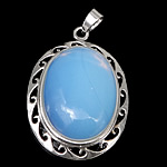 Sea Opal Pendants, with brass, Flat Oval, platinum color plated, 32x45x12mm, Hole:Approx 4x7mm, 20PCs/Lot, Sold by Lot