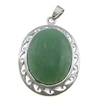 Aventurine Pendants, green aventurine, with brass, Flat Oval, platinum color plated, 32x45x12mm, Hole:Approx 4x7mm, 20PCs/Lot, Sold by Lot