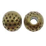 Zinc Alloy Jewelry Beads, Drum, antique bronze color plated, hammered, nickel, lead & cadmium free, 10x8.5mm, Hole:Approx 3.5mm, approx 400PCs/KG, Sold by KG