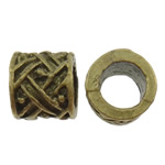 Zinc Alloy European Beads, Column, antique bronze color plated, without troll, nickel, lead & cadmium free, 11x10x10.50mm, Hole:Approx 6.5mm, 200PCs/Bag, Sold by Bag