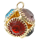 Wisiorek z kryształem, Mosiądz, Koło, Platerowane w kolorze złota, z kamieniem, bez zawartości niklu, ołowiu i kadmu, 13x13mm, otwór:około 2mm, 100komputery/wiele, sprzedane przez wiele