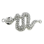 Zinc Alloy Connector, Snake, platinum color plated, with rhinestone & 1/1 loop, nickel, lead & cadmium free, 52x28x4mm, Hole:Approx 3mm, 50PCs/Lot, Sold by Lot