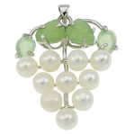 Freshwater Pearl Pendants, with Green Aventurine & Brass, Grape, natural, white, 37x42x13mm, Hole:Approx 3.5x5mm, Sold By PC