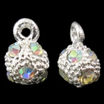 Zinc Alloy Pendants, Round, silver color plated, with rhinestone, nickel, lead & cadmium free, 6x9mm, Hole:Approx 1mm, 10PCs/Bag, Sold By Bag