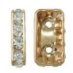 Rhinestone Spacers, Brass, Rectangle, KC gold color plated, with rhinestone & 2-strand, lead & cadmium free, 8.50x15.50x4mm, Hole:Approx 1.5mm, 10PCs/Bag, Sold By Bag