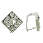 Brass Pinch Bail, Rhombus, platinum color plated, with rhinestone, nickel, lead & cadmium free, 10x10x7mm, 10PCs/Bag, Sold by Bag