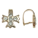 Brass Pinch Bail Cross rose gold color plated with rhinestone nickel lead   cadmium free 9.50x11x8mm 10PCs/Bag