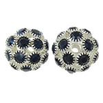 Rhinestone Brass Beads, Drum, silver color plated, with rhinestone & hollow, nickel, lead & cadmium free, 18x17mm, Hole:Approx 2mm, 2PCs/Bag, Sold By Bag