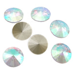 Crystal Cabochons, Flat Round, real silver plated, AB color & rivoli back, Crystal, 16x16x6mm, 144PCs/Bag, Sold by Bag