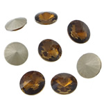 Crystal Cabochons, Flat Round, real silver plated, rivoli back, Smoked Topaz, 16x16x6mm, 144PCs/Bag, Sold by Bag