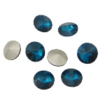 Crystal Cabochons, Flat Round, real silver plated, rivoli back, Indicolite, 16x16x6mm, 144PCs/Bag, Sold by Bag