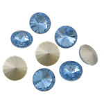 Crystal Cabochons, Flat Round, real silver plated, rivoli back, Lt Sapphire, 16x16x6mm, 144PCs/Bag, Sold by Bag