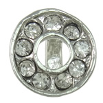 Brass Pinch Bail, Donut, platinum color plated, with rhinestone, nickel, lead & cadmium free, 10x10x8mm, 10PCs/Bag, Sold by Bag